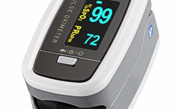 Pulse Oximeter, ATMOKO OLED Digital Finger Pulse Oximeter Fingertip, SpO2 Blood Oxygen Saturation Level and Heart Rate Monitor with 4 Rotatable Readings, Include Batteries and Lanyard