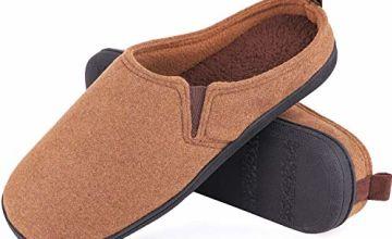 EverFoams Men's Comfort Memory Foam Slippers Soft Tweed Plus