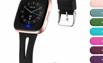 Ouwegaga Replacement Strap Compatible with Fitbit Versa Strap/Fitbit Versa 2 Strap, Soft Silicone Slim Narrow Band Compatible with Fitbit Versa Lite, Women Men Small Large