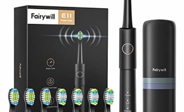 Fairywill Electric Toothbrush, Sonic Electric Toothbrush for Adults with 3 Modes 2 Hours Fast Charge and Smart Timer, Whitening Sonic Toothbrush Includes 8 Toothbrush Heads & Travel Case FW-E11
