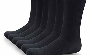SUNWIND 5/6 Pairs Men's Seamless Comfortable Socks 98% Cotton Combed Breathable Crew Calf Socks Classic Business Dress Socks