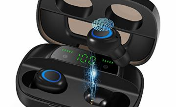 Orangeck Wireless Headphones Bluetooth 5.0 Headphones Wireless Earphones Sports Earbuds 120 Hours Playtime with Mic 3D Deep Bass Stereo LED Display IPX7 Waterproof Touch Control for Android & iOS