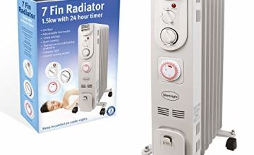 Silentnight 7-Fin Oil Filled Radiator with Timer, 1500 Watt