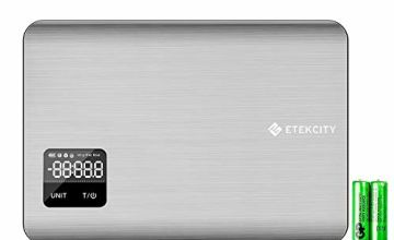 Etekcity Digital Kitchen Scales, Ultra Slim 1.65cm Stainless Steel Electronic Food Scales, 5 kg /11 lb, Advanced Touch Screen, Battery Indicator, Liquid Measure in ml & fl. Oz. Silver