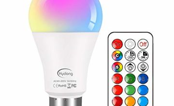 Colour Changing Bulb B22 10W Dimmable, RGBW LED Light Bulbs Mood Lighting with 21key Remote Control,Dual Memory Function,12 Color Choices for Home Decoration Bar Party KTV Stage Effect Lights