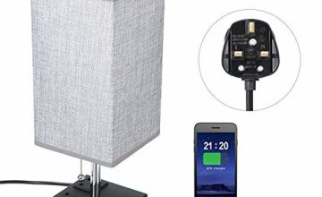Bedside Table Lamp, TOMSHOO Bedroom Lamp LED Modern Nightstand Desk Lamp with Dual 2.1A USB Charging Ports & Dual Outlet Sockets for Bedroom Living Room Children Room Office