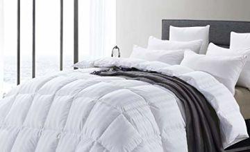 MoSurprise 100% White Goose Down Duvet King Size 13.5 Tog Winter Warm Duvet Insert Classic Quilt Hypoallergenic 100% Cotton Shell Down Proof
