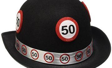 Traffic Sign 50th Black Bowler Hat