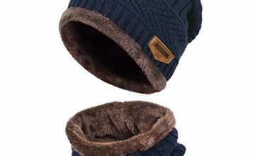 Vbiger Kids Warm Knitted Beanie Hat and Circle Scarf Set, Grey, One Size