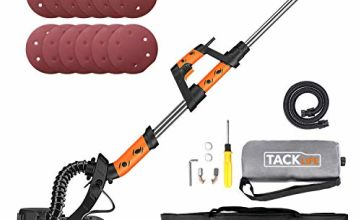 Automatic Vacuum Efficient 95% 800W Drywall Sander Long Handle with Dust Absorption Bag Electric Variable Speed 500-1800RPM 225mm Sanding Discs 12pcs with LED Light and Carry Bag | TACKLIFE-PDS03A