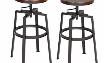 FURNITURE-R France Industrial Bar Stools Set of 2, Height Adjustable Bar Chairs 360° Swivel Kitchen Stool with Footrest