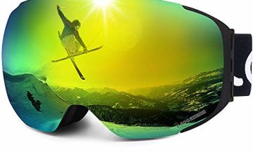 LEMEGO Ski Goggles Snowboard Goggles - Magnetic Frameless Interchangeable 100% UV400 Protection Dual Layers Anti-Fog Spherical Lens Anti-Slip Strap Helmet Compatible for Men & Women Youth