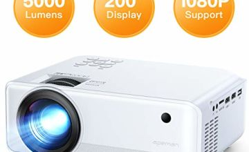 "Projector APEMAN 5000 Lumen Mini Portable Projector 1080P Support LED Projector 200"" LCD Home Cinema Projector 50000 Hrs LED Life, HDMI/VGA/AV/USB/Micro SD/TV Stick for Home Entertainment[Upgraded]"