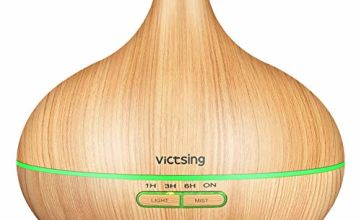 VicTsing 300ml Essential Oil Diffusers for Aromatherapy, Up to 10H Use Cool Mist Aroma Diffuser, 4 Timer Setting, BPA-Free, Waterless Auto-Off, 7 Color LED Lights, for home, bedroom-Yellow Wood Grain