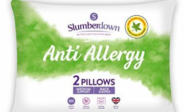 Save on Slumberdown Anti Allergy Pillows, Medium Support, Designed for Back Sleepers, Pack of 2 and more