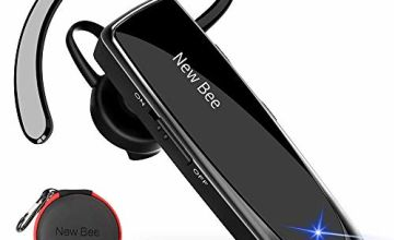 Bluetooth Earpiece Handsfree Headset New Bee Bluetooth Headset Clear Voice Capture Technology Business Style With Headset Case for iPhone Series, Android Cell Phones, Laptop and More 60 Days Standby