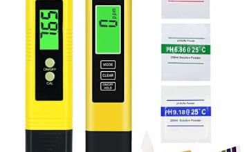 AYUQI PH Meter Digital Water Quality Test 0.01 Resolution TDS PH EC Temperature 4 in 1 Set, Large LCD Screen Pen Auto Calibration with Calibration Powder for Pool Aquarium Drinking Water