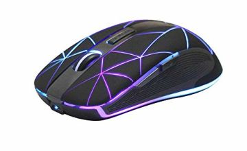 Rii RM200 Wireless mouse Rechargeable,Colorful LED Backlit Mouse Game Computer Mice for PC Tablet Laptop and Windows Mac Office Mouse