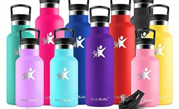 KollyKollaInsulatedWaterBottle, StainlessSteel Vacuum DrinksBottles - 350/500/600/750ml/1L - Leakproof Hot/ColdMetal Flask with 2 Straws & Lids, Bpa Free forKids, Sports,Gym,Running