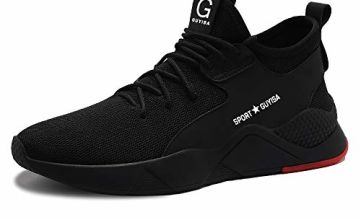 Safety Shoes for Men Steel Toe Trainers Lightweight Work Shoes Women Breathable Industrial Sneakers - 11 UK Narrow -  Black(black8186)