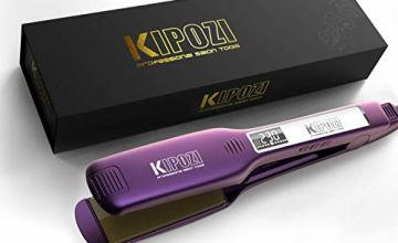 KIPOZI Professional Hair Straighteners Wide Plate Titanium Flat Iron with Digital LCD Display, Adjustable Temperature Settings Suitable for All Hair, Purple