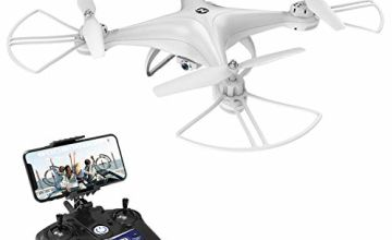 Holy Stone HS110D Drone with Camera Live Video FPV 120°Wide-Angle WiFi RC Quadcopter for Kids and Adults with Altitude Hold Headless Mode 3D Flips RTF Modular Battery, White