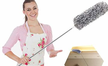 Feather Duster,Microfiber Extendable Duster with 100'' Telescopic Stainless Steel Extension Pole and Soft Silicone Cap,Easy to Absorb Dust Anti Static,Perfect for Cleaning Cobweb,Ceiling Fan,Car etc
