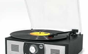 Vinyl Record Player, VMO 3-Speed Turntable with Built-in Stereo Speakers, USB Output Convert Vinyl Records to Digital Files, USB Player/Bluetooth/3.5mm AUX IN/RCA Output