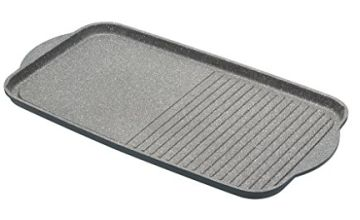 MasterClass Cast Aluminium Induction-Safe Non-Stick Dual Griddle Tray/Plate, Grey, 46 x 26 cm (18 x 10 Inch)