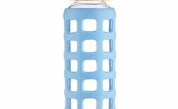 Cleesmil Sports Glass Water Bottle with Silicone Sleeve with Bamboo Lid BPA Free 360 ml / 660 ml / 1000 ml