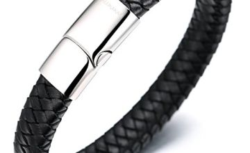 """Halukakah ● Solo ● Men's Genuine Leather Bracelet Classic Style Titanium Clasp with Magnets 8.46""""(21.5cm) with FREE Giftbox"""