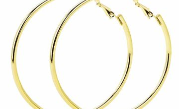 VU100 Big Hoop Earrings 50mm Sterling Silver 18k Gold Plated