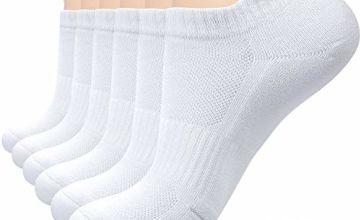 coskefy Sports Socks Cushioned Running Socks Trainer Socks for Men Women Cotton Ankle Socks Low Cut Athletic Walking Socks (6 Pairs)