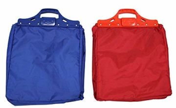 JVL Reusable Shopping Trolley Bags, Fabric, Blue/Red, Set of 2