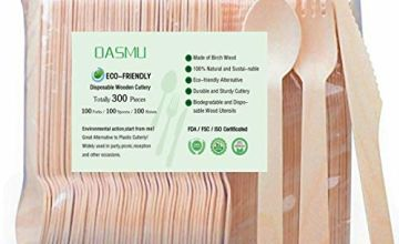 BBQ Disposable Wooden Cutlery,300 Piece Eco Disposable Cutlery, 100% Compostable Cutlery for Parties, Events, Takeaways, Just Eat, Catering and Party (100 Forks, 100 Spoons, 100 Knives), 300 Piece