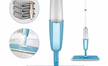 Spray Floor Mop, PAPCLEAN Microfibre Spray Mop with 3 Reusable Pads and 410ML Refillable Bottle, 360 Degree Spin Mop Suitable for Hardwood, Marble, Tile, Laminate, or Ceramic Floors - Cyan Blue