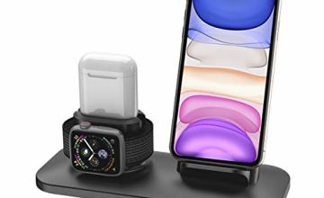 Wireless Charger, 3 in 1 Wireless Charging Stand for Apple Watch 5 and iPhone Airpods, Wireless Charging Station compatible for iPhone 11/11 Pro/X/XR/Xs/8 Plus Apple Watch Charger 5 4 3 2 1 Airpods1 2
