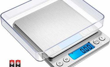 Brifit Digital Pocket Scales, (500g/ 0.01g) High-precision Kitchen Food Scales, Jewelry Scales, Pro Scales with Back-Lit LCD Display, Tare and PCS Features, Stainless Steel, Batteries Included