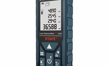 Laser Measure 50M, DTAPE DT50 Laser Distance Meter 165ft, Portable Handle Digital Measure Tool Range Finder, Larger Backlit LCD 4 Line Display IP54 Shockproof Battery Included