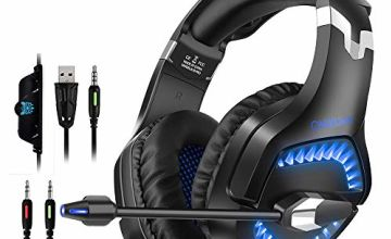 Gaming Headset for Nintendo Switch PS4 Xbox One, ONIKUMA 2020 New Over-Ear Gaming Headphones PC USB Headsets Playstation Accessories with Microphone LED Light Noise Cancelling Volume Control (Black)