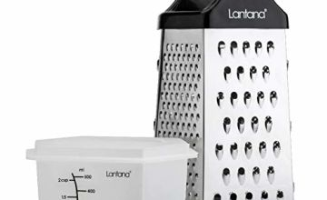 Lantana 6 sided Grater with Container – Hand held Grater/Slicer/Zester. 6 Essential Kitchen functions for Coarse, Medium, Fine, Micro-Grating/Zesting/Slicing. Includes Fitted Measuring Container & Lid