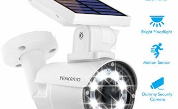YESKAMO Solar Battery Power Motion Sensor Light, Outdoor Dummy Security Camera with PIR Activated High Brightness Spotlight, Auto ON with 8 LED for Garden, Yard, Driveway, Fence, IP66 Weatherproof