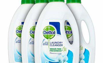 Dettol Antibacterial Laundry Detergent Cleanser Liquid, Fresh Cotton, Multipack of 4 x 1.5 Litre