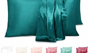 Duerer Two-Pack Satin Pillowcases for Hair and Skin Standard/Queen/King Size Pillow Case with Envelope Closure
