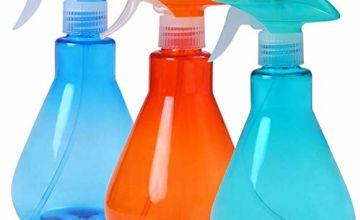 YANGTE 500ml Empty Spray Bottles Fine Mist Trigger Sprayer, Mist and Stream Modes for Cleaning -Pack of 3