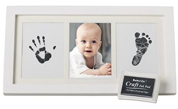 Beautiful Baby Handprint Kit & Footprint Photo Frame for Newborn Girls and Boys, Unique Baby Shower Gifts Set for Registry, Memorable Keepsake Box Decorations for Room Wall or Nursery Decor