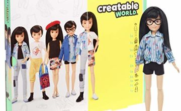 CREATABLE WORLD GGG54 Deluxe Character Kit Customisable Doll, Creative Play for All Kids 6 Years Old and Up, Black Straight Hair