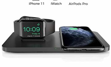 Seneo Dual 2 in 1 Wireless Charger, Apple Watch Charging Pad, Nightstand Mode for iWatch Series 5/4/3/2, 7.5W Fast Charging for iPhone 11/11 Pro Max/XR/XS Max/Xs/X/8/8P/Airpods Pro/2(No iWatch Cable)