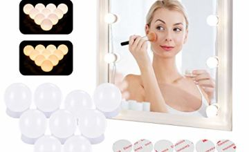 Azhien Mirror Lights with 10 Dimmable LED Bulbs,Hollywood Style Vanity Mirror Lights Kit with 3 Color Modes & 10 Brightness for Make-up and Dressing Mirror(USB Cable,No Mirror and No Adapter)