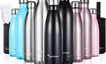 Sportneer Vacuum Flask, 500ml/750ml Double Wall Vacuum Insulated Stainless Steel Water Bottle, BONUS A Cleaning Brush & A Bottle Cove (Silver, 750ml)